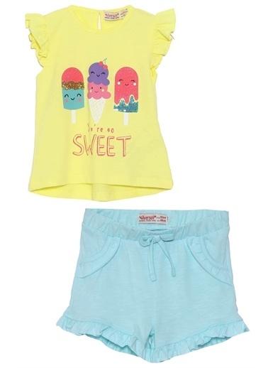 Silversun Kids Bebek Kız Baskılı Kolları Fırfırlı Tişört ile Belden Lastikli şort Takım- & BK 115851 Sarı-SC MG 08 Mint Sarı